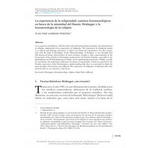 La experiencia de la religiosidad: caminos fenomenológicos en busca de la mismidad del Dasein