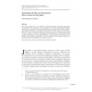 Experiência de Deus no Pensamento. Breve Leitura de Jörg Splett
