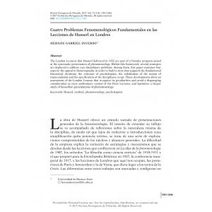 Cuatro Problemas Fenomenológicos Fundamentales en las Lecciones de Husserl en Londres