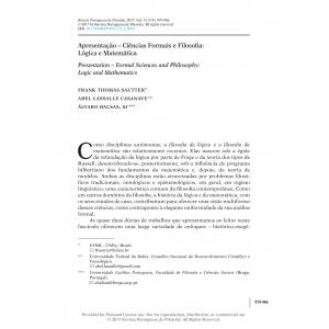 Apresentação – Ciências Formais e Filosofia: Lógica e Matemática