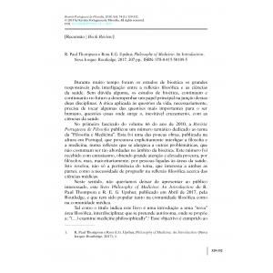 Book Review - R. Paul Thompson e Ross E.G. Upshur, Philosophy of Medicine