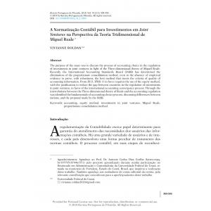 A Normatização Contábil para Investimentos em Joint Ventures na Perspectiva da Teoria Tridimensional de Miguel Reale