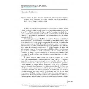 Book Review - Por uma Sensibilidade além da Essência: Lévinas interpela Platão