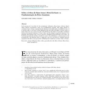 Sobre a Crítica de Hans Jonas à Moral de Kant e a Fundamentação da Ética Jonasiana