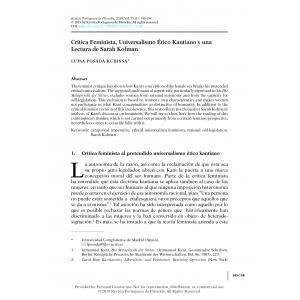 Crítica Feminista, Universalismo Ético Kantiano y una Lectura de Sarah Kofman