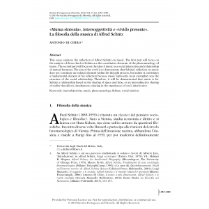 """""""«Mutua sintonia», intersoggettività e «vivido presente». La filosofia della musica di Alfred Schütz"""