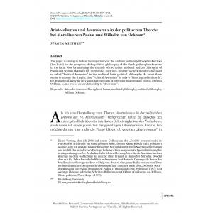 Aristotelismus und Averroismus in der politischen Theorie bei Marsilius von Padua und Wilhelm von Ockham