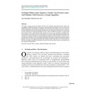 Teologia Política entre Império e Estado: Um Percurso entre Carl Schmitt, Erik Peterson e Giorgio Agamben