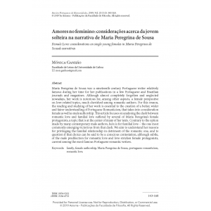 Amores no feminino: considerações acerca da jovem solteira na narrativa de Maria Peregrina de Sousa