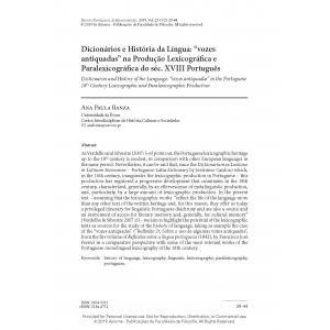 Dicionários e História da Língua: 'vozes antiquadas' na Produção Lexicográfica e Paralexicográfica do séc. XVIII Português