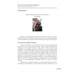 In Memoriam. Prof. António Luciano Leite Videira (1935-2018)