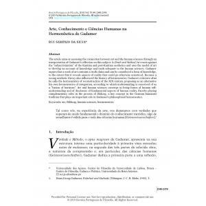 Arte, Conhecimento e Ciências Humanas na Hermenêutica de Gadamer