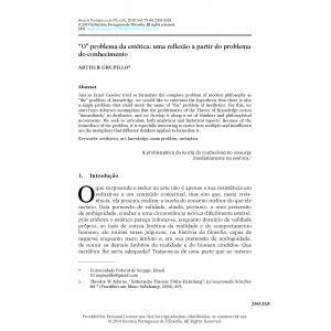 'O' problema da estética: uma reflexão a partir do problema do conhecimento