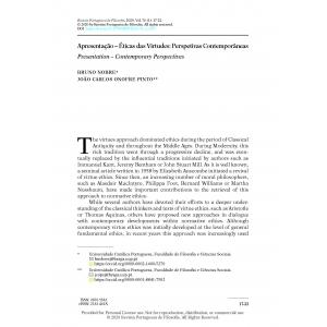 Apresentação – Ética das Virtudes: Perspetivas Contemporâneas