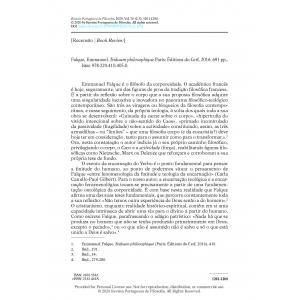 Book Review - Falque, Emmanuel. Triduum philosophique