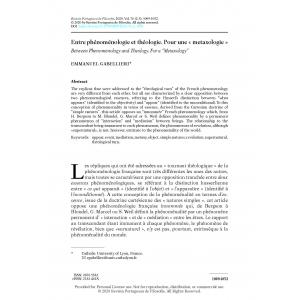 Entre phénoménologie et théologie. Pour une « metaxologie »