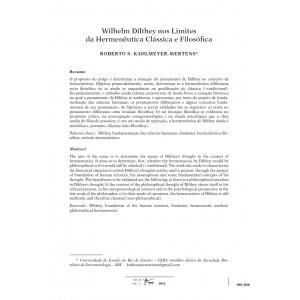 Wilhelm Dilthey nos Limites da Hermenêutica Clássica e Filosófica