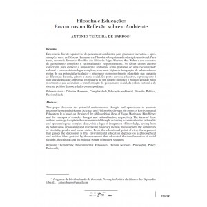 Filosofia e Educação: Encontros na Reflexão sobre o Ambiente