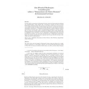 (Im-) Possível Redenção: Considerações sobre o «Humanismo do Outro Homem» de Emmanuel Lévinas