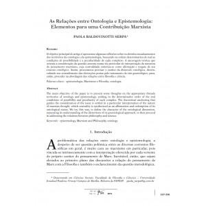 As Relações entre Ontologia e Epistemologia: Elementos para uma Contribuição Marxista