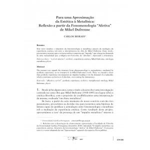 """Para uma Aproximação da Estética à Metafísica: Reflexão a partir da Fenomenologia """"Afetiva"""" de Mikel Dufrenne"""