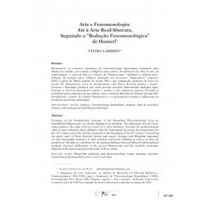 """Arte e Fenomenologia: Até à Arte Real/Abstrata, Seguindo a """"Redução Fenomenológica"""" de Husserl"""