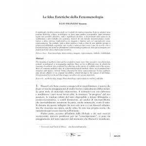 La Idee Estetiche della Fenomenologia