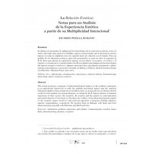 La Relación Estética: Notas para un Análisis de la Experiencia Estética a partir de su Multiplicidad Intencional