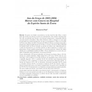 Ano da Graça de 2003-2004: Morrer com Cancro no Hospital do Espírito Santo de Évora