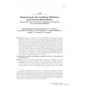 Humanização dos Cuidados Paliativos em Contexto Domiciliário