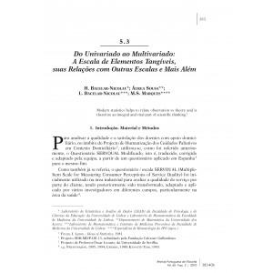 Do Univariado ao Multivariado: A Escala de Elementos Tangíveis, suas Relações com Outras Escalas e Mais Além