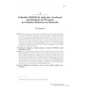 O Modelo SERVQUAL Aplicado à Avaliação da Satisfação na Prestação de Cuidados Paliativos ao Domicílio