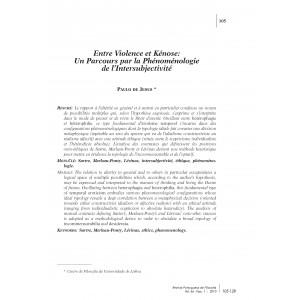 Entre Violence et Kénose: Un Parcours par la Phénoménologie de L'Intersubjectivité