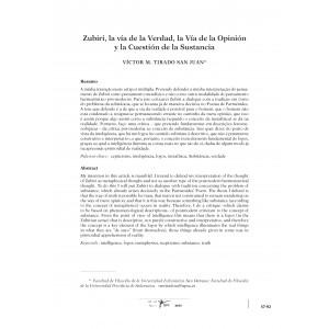 Zubiri, la vía de la Verdad, la Vía de la Opinión y la Cuestión de la Sustancia