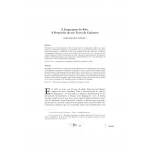 A Linguagem do Rito: A Propósito de um Texto de Gadamer