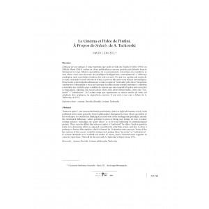 Le Cinéma et l'Idée de l'Infini. À Propos de Solaris de A. Tarkovski