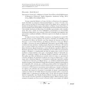 Recensão Nakládalová, Iveta (ed.) Religion in Utopia: From More to the Enlightenment