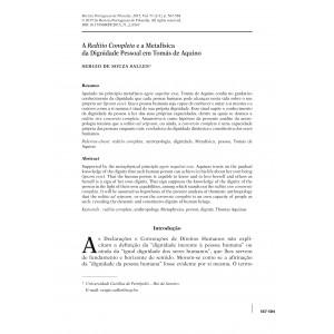 A 'Reditio Completa' e a Metafísica da Dignidade pessoal em Tomás de Aquino