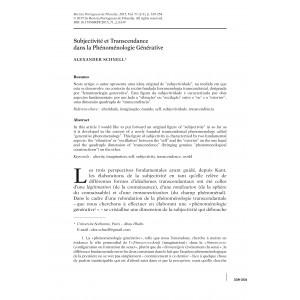 Subjectivité et transcendance dans la phénoménologie générative