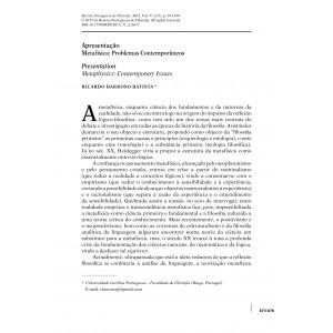 Apresentação - Metafísica: Problemas Contemporâneos
