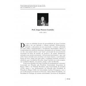 In Memoriam Prof. Jorge Peixoto Coutinho (1939 - 2015)