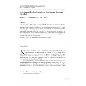 A Crítica de Hegel ao Formalismo Kantiano em Defesa da Eticidade