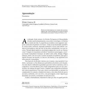 Apresentação Revista Portuguesa de Humanidades