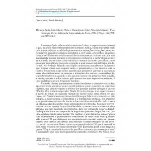 Book Review – Miguens, Sofia, João Alberto Pinto, e Diana Couto (Eds.) Filosofia da Mente – Uma Antologia