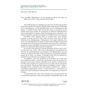 Book Review – Ferry, Jean-Marc. Métaphysiques. Le sens commun au défi du réel.