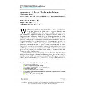 Apresentação – O Bem na Filosofia Antiga: Leituras Contemporâneas