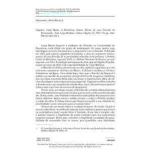Book Review - Esquirol, Josep Maria. A Resistência Íntima. Ensaio de uma Filosofia da Proximidade.