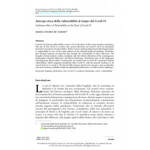 Antropo-etica della vulnerabilità al tempo del Covid-19