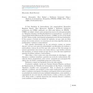 Book Review - Duarte, Alessandro, Alice Hadad e Robinson Guitarrari (Orgs.). Realismo & Antirealismo.