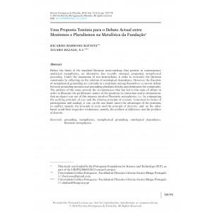 Uma Proposta Tomista para o Debate Actual entre Monismos e Pluralismos na Metafísica da Fundação